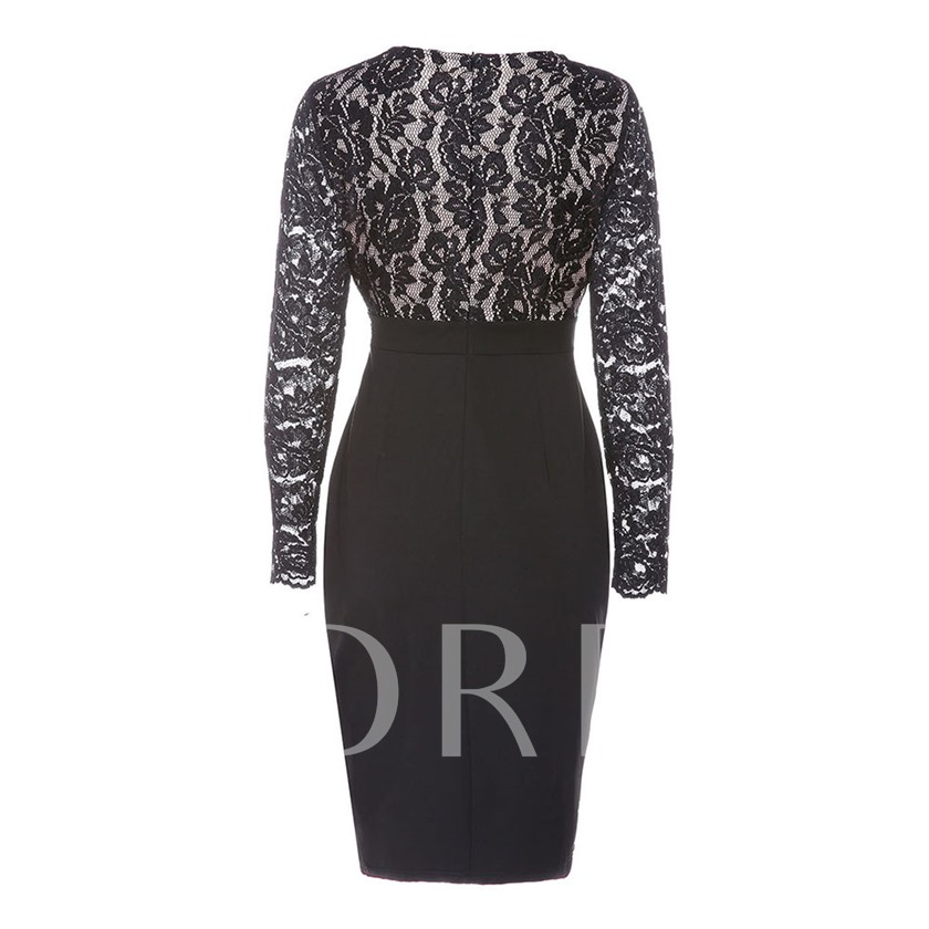 Long Sleeve V-Neck Regular Women's Lace Dress