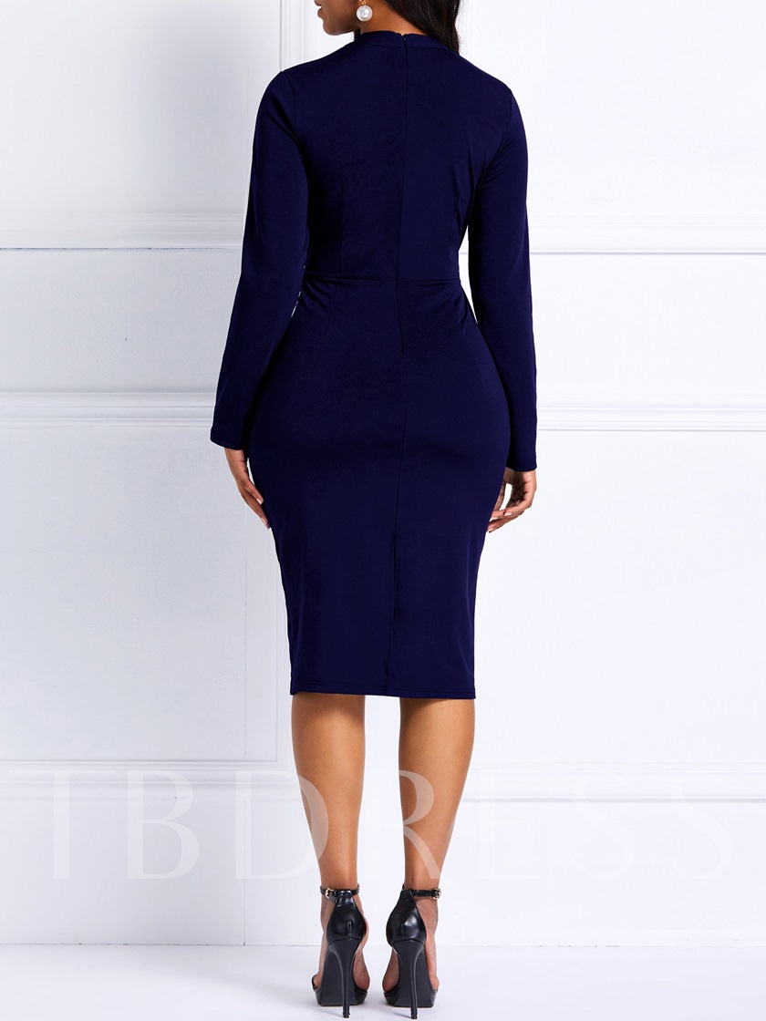 Long Sleeve Stand Collar Patchwork Women's Bodycon Dress
