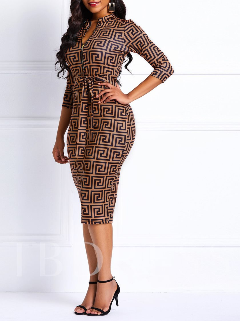 Three-Quarter Sleeve Print V-Neck Women's Bodycon Dress
