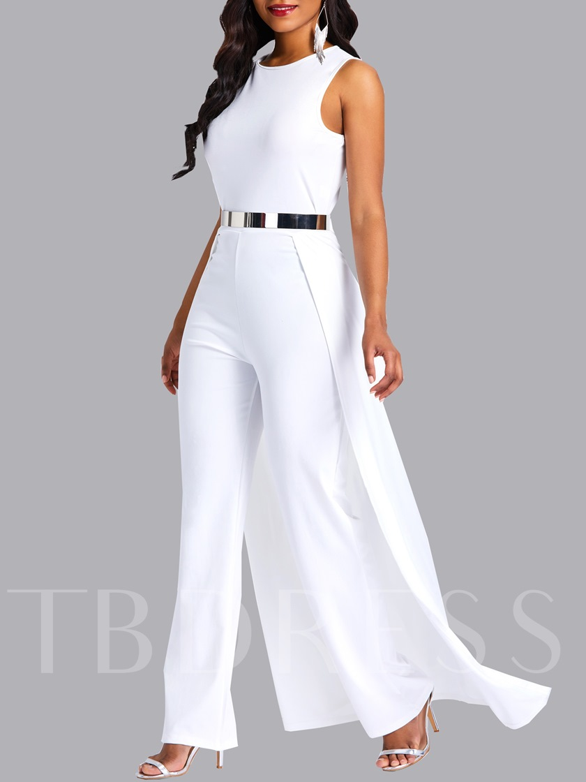 African Fashion Full Length Plain Slim Women's Jumpsuit(No Belt)