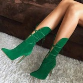 Pointed Toe Stiletto Heel Plain Lace-Up Front Mid Calf Boots