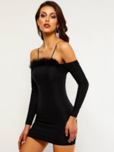 Long Sleeve Patchwork Feather Women's Sexy Dress