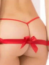 Hollow Bowknot Red Sexy Three-Point Bra Set