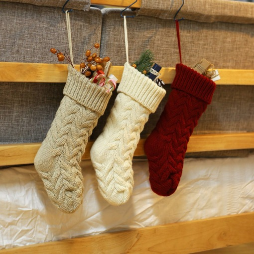 Xmas Gift Weaving Knitted Candy Sock Bag Christmas Decorations
