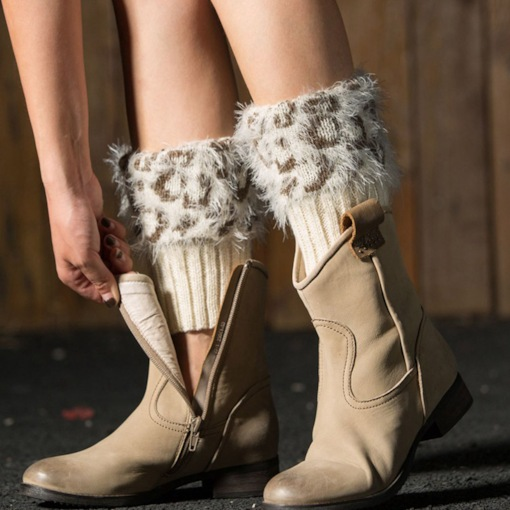 Trend Leopard Print Knitted Boot Cuffs
