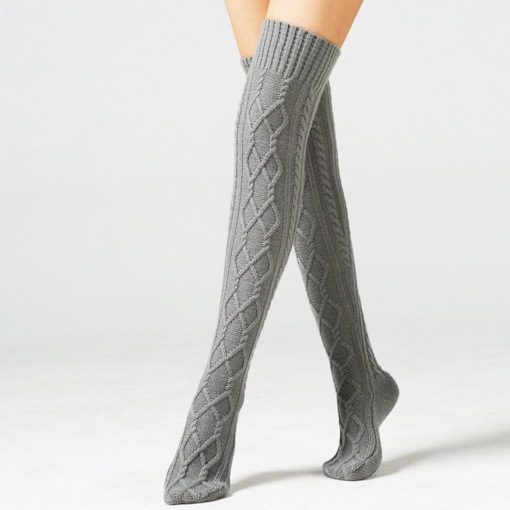Pure Color Knee High Patterned Boot Socks