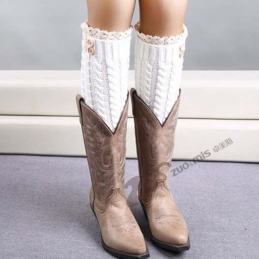 Ribbed Legwarmers with Lace Trim