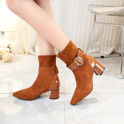 Slip-On Chunky Heel Patchwork Pointed Toe Buckle Women's Ankle Boots