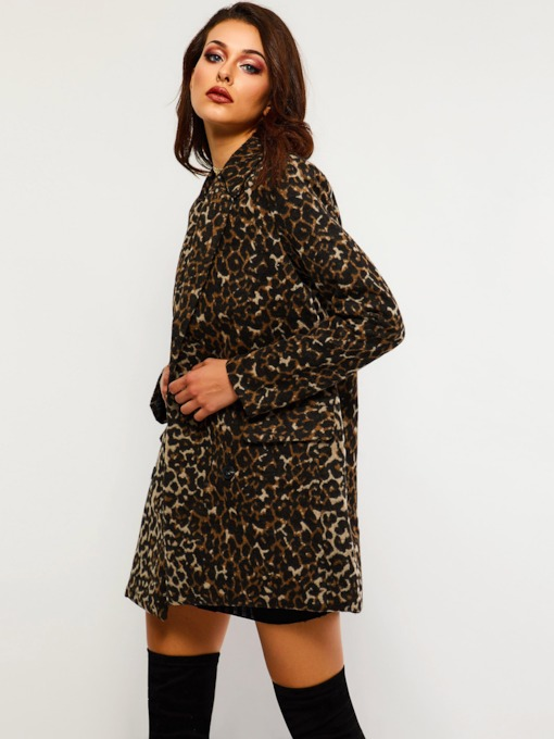 Double-Breasted Leopard Mid-Length Women's Overcoat