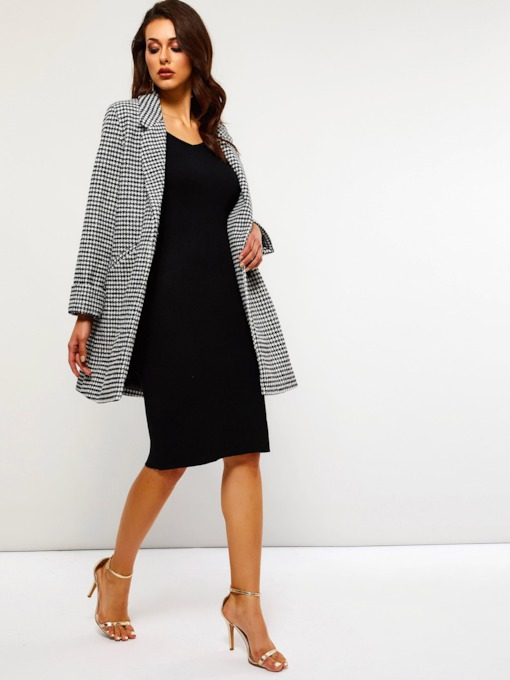 Houndstooth Double-Breasted Mid-Length Women's Overcoat