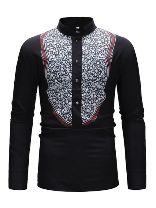 Print Casual Stand Collar Slim Men's Shirt