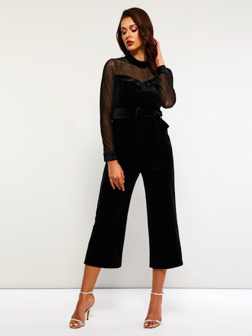 Patchwork See Through Wide Legs Women's Jumpsuits
