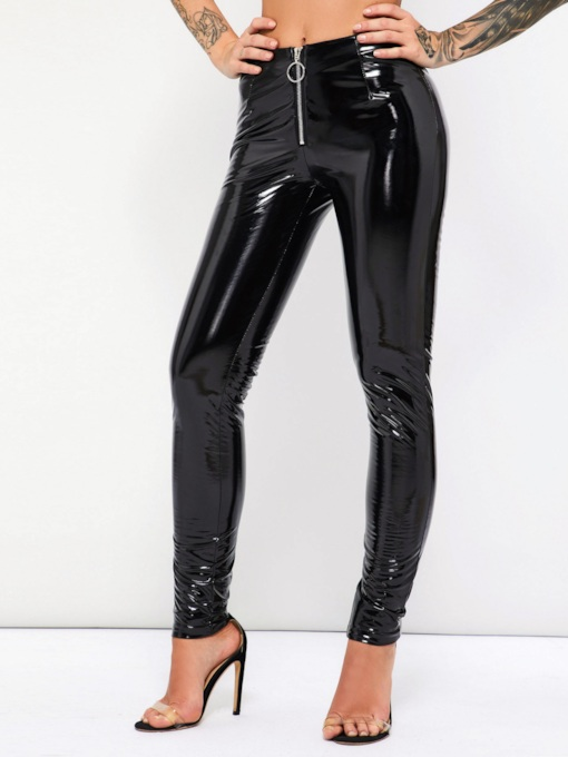 PU Casual Zipper Plain Women's Leggings