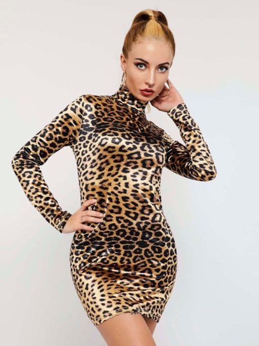 Leopard Long Sleeve Stand Collar Women's Bodycon Dress