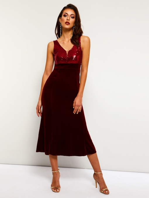 Sequins Sleeveless V-Neck Women's Maxi Dress