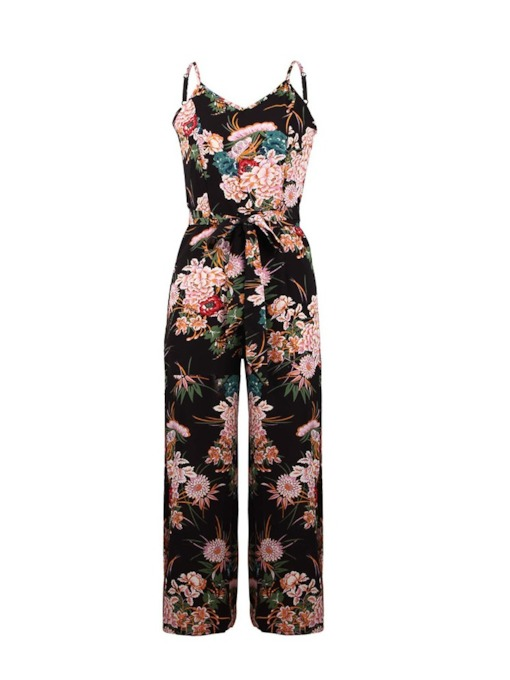 Casual Full Length Split Floral Straight Women's Jumpsuits