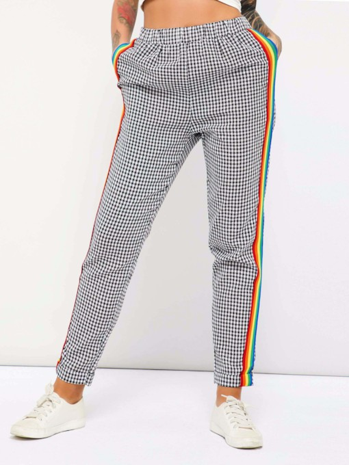 Elastics Patchwork Plaid Straight Women's Casual Pants