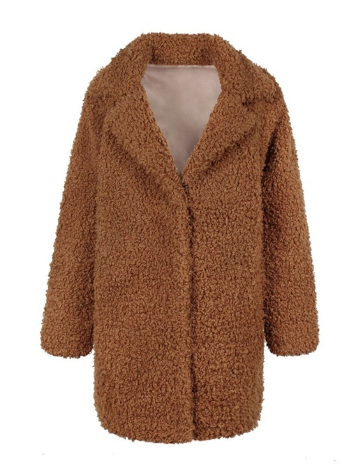 Fluffy Notched Lapel Hidden Button Women's Teddy Overcoat