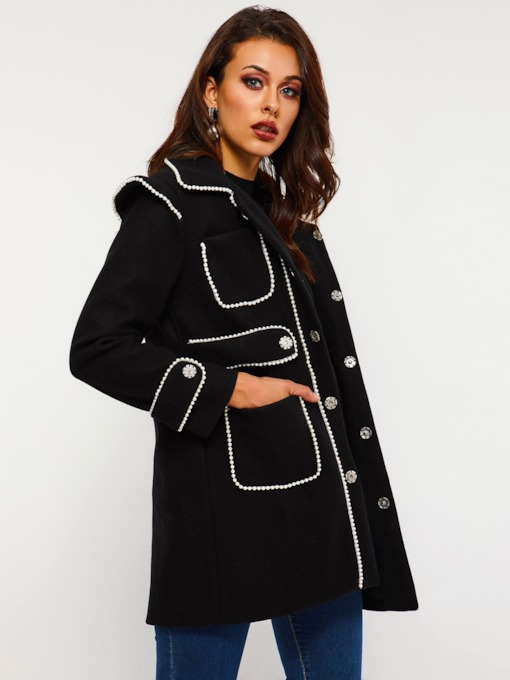 Straight Color Block Single-Breasted Women's Overcoat