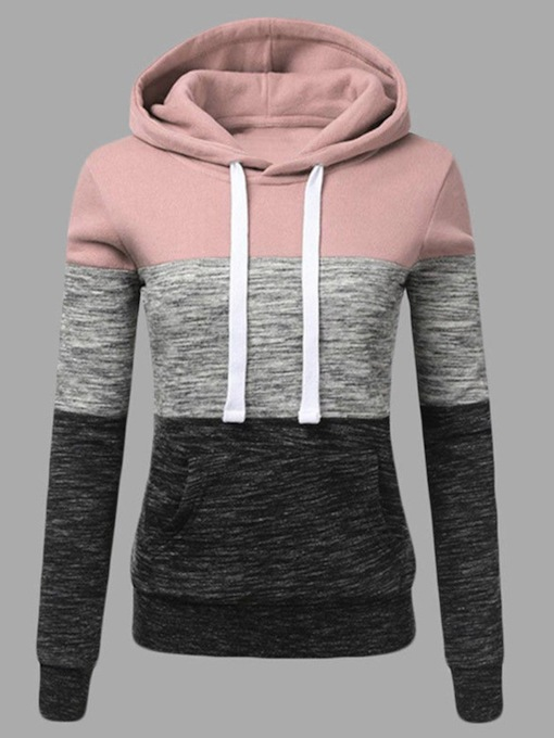 Color Block Drawstring Long Sleeve Women's Hoodie