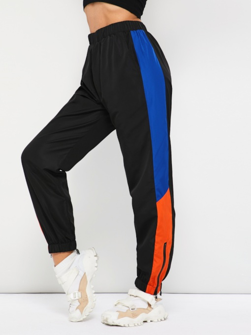 Color Block Loose Patchwork Elastics Harem Pants Women's Casual Pants