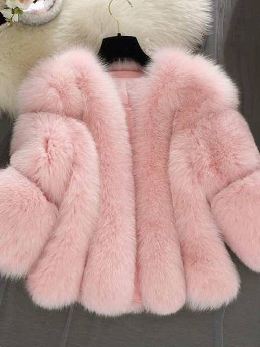 Faux Fur Three-Quarter Sleeve Women's Overcoat