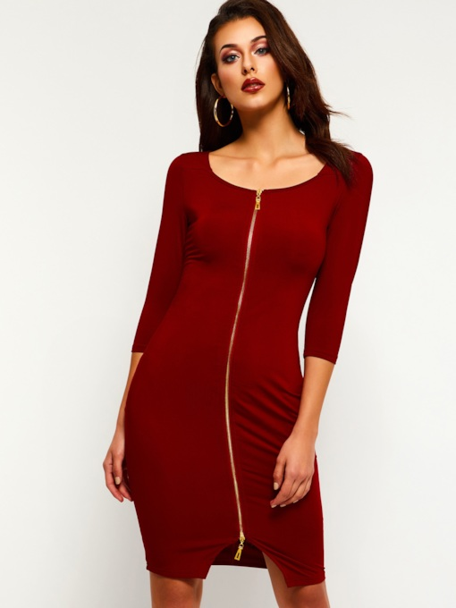 Zipper Square Neck Split Women's Bodycon Dress