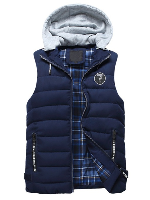 Thick Patchwork Stand Collar Hooded Casual Men's Gilet