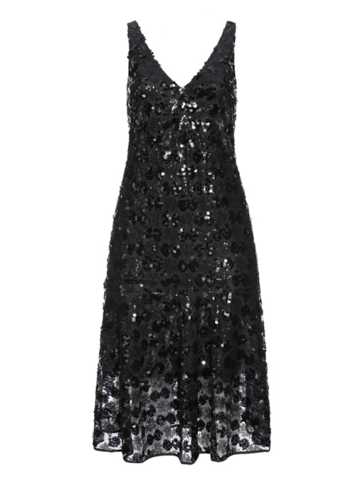 Plus Size Mid-Calf Sequins V-Neck Sleeveless Pullover Women's Dress