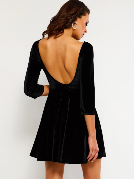 Velvet Backless Sexy Women's Open Back Dress