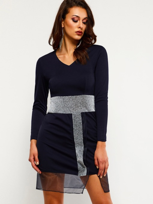 Sequins Long Sleeve V-Neck Women's Sheath Dress