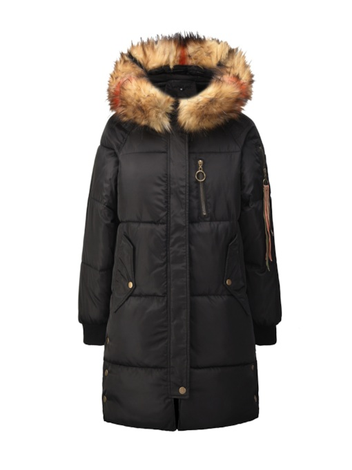 Straight Faux Fur Parkas Women's Cotton Clothes