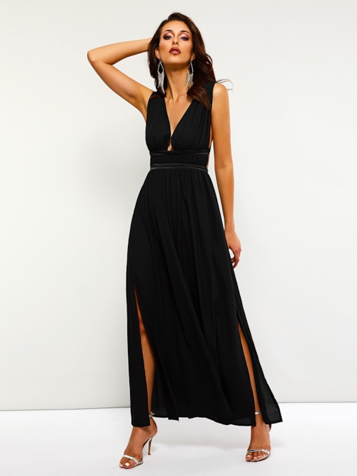 V-Neck Split Sleeveless Women's Maxi Dress