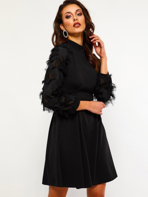 Bowknot Stand Collar A-Line Women's Long Sleeve Dress