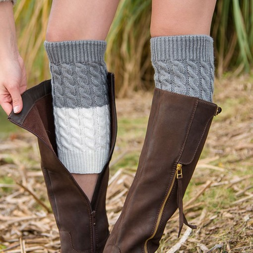 Black and White Knitted Boot Cuffs