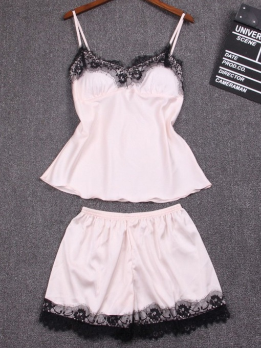 Lace with Chest Pad Short Pajama Set for Women