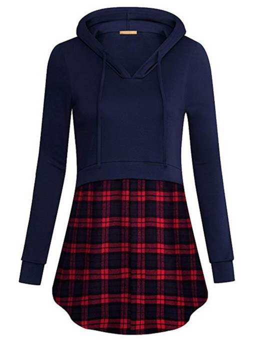 Plaid Mid-Length Double-Layer Women's Hoodie