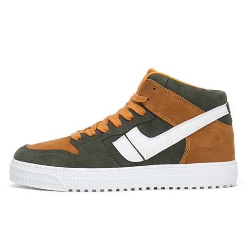 Lace-Up Color Block High Top Suede Round Toe Chic Men's Skate Shoes