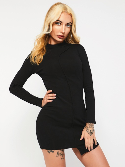 Asymmetric Long Sleeve Women's Bodycon Dress