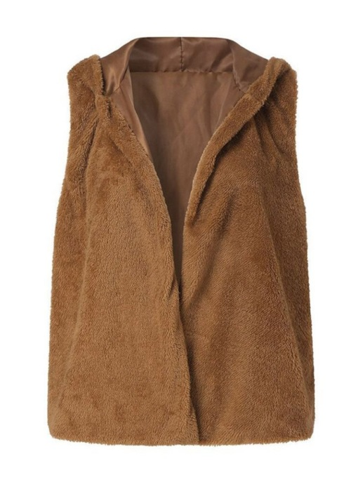 Fluffy Teddy Wrapped Plain Hooded Thick Women's Vest