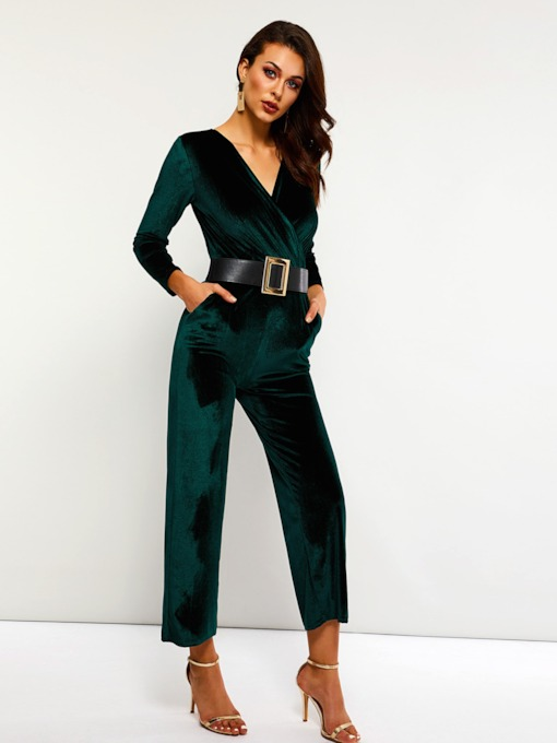 Casual Velvet Full Length Belt Slim Women's Jumpsuits