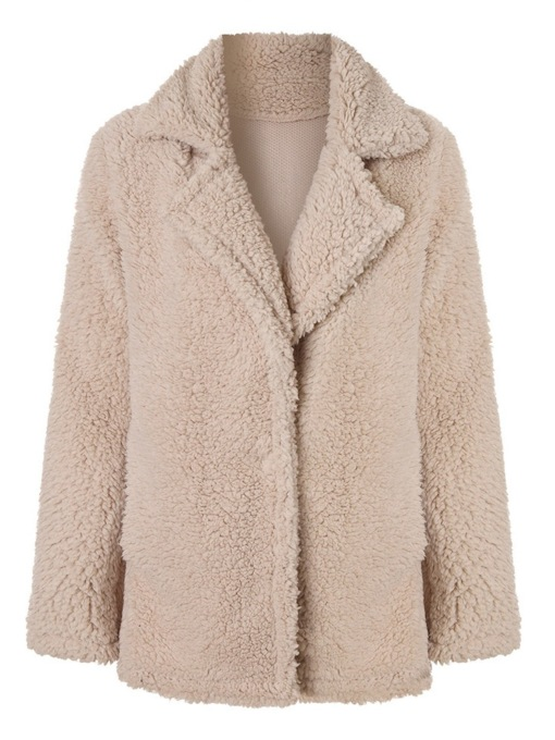 Fluffy Hidden Button Notched Lapel Mid-Length Women's Teddy Overcoat