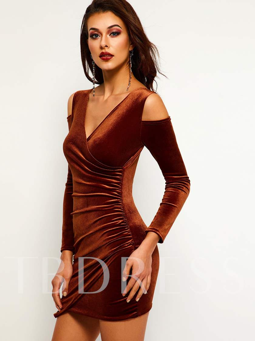 V-Neck Long Sleeve Plain Women's Party Dress