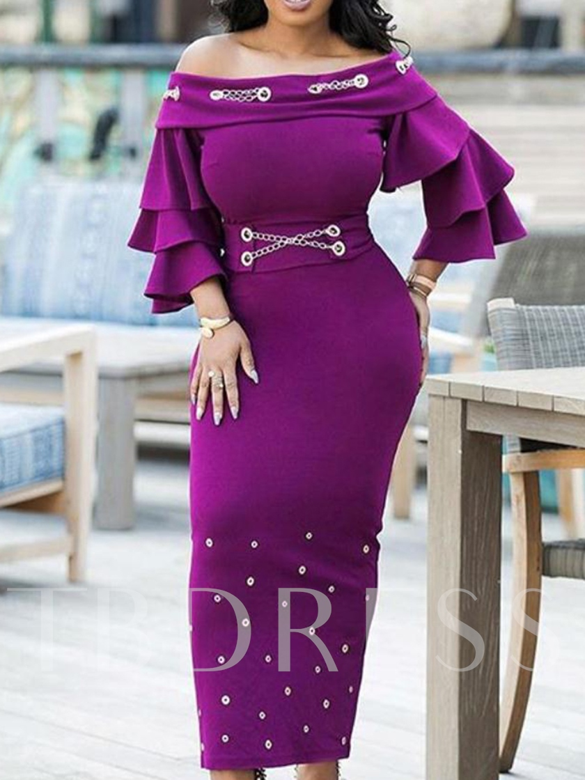 Three-Quarter Sleeve Rivet Off Shoulder Women's Maxi Dress