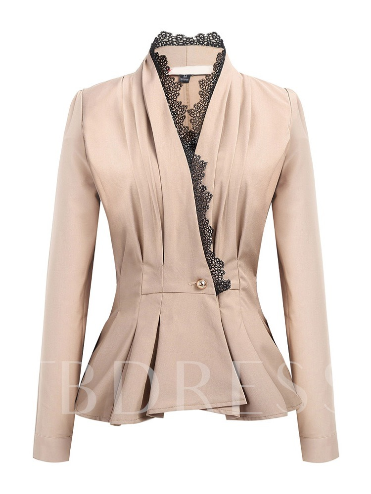 Plain One Button Lace Women's Blazer