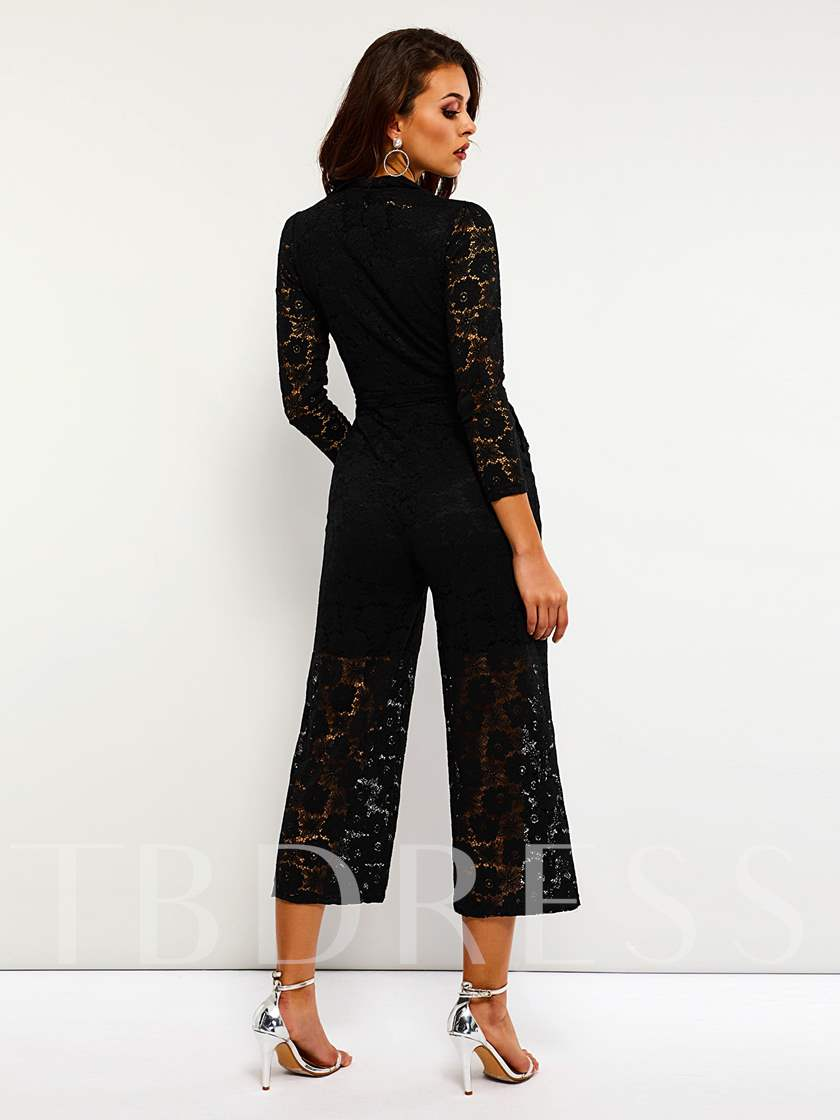 Casual Lace Pocket Lace-Up High-Waist Women's Jumpsuits