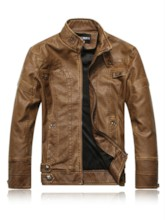 Standard Stand Collar Plain Zipper Men's Leather Jacket