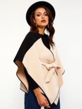 Wool Blends Color Block Thick Women's Cape