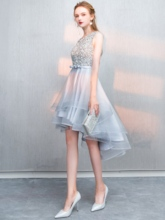 A-Line Beaded Bowknot Sashes Bateau Cocktail Dress