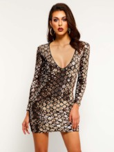 V-Neck Long Sleeve Sequins Women's Party Dress